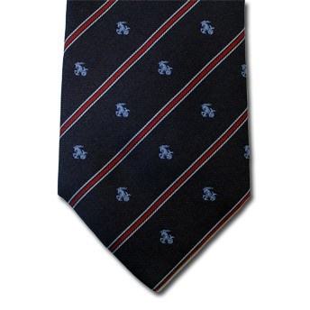 Capricorn - Blue pure silk tie with zodiac sign and contrasting stipe, easy to match