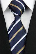 Stropdas Leicester - Bruin Blauw Wit Gestreept  Description: Stropdas Leicester Heb je een of meer nieuwe stropdassen nodig? Zoek dan niet verder want deze donkerblauwe gestreepte stropdas met de kleuren bruingeel en wit maakt jouw outfit helemaal compleet. Met een stropdas is het totaalplaatje af. Je hoeft nu niet meer iedere dag te combineren en te bekijken wat er bij je overhemd past want deze stropdas biedt uitkomst. Verras jezelf eens met een mooie stropdas of verras je beste vriend of…