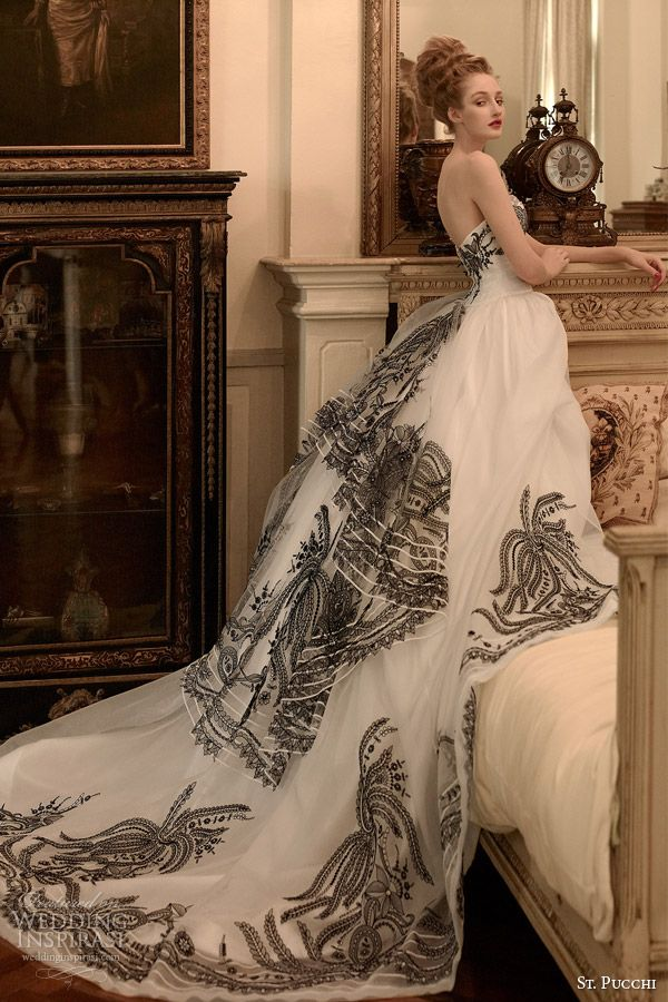St. Pucchi 2014 2015 bridal | gizelle strapless black and white ball gown wedding dress