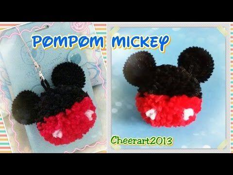 Pompom Mickey tutorial 毛絨球米奇教學 - YouTube