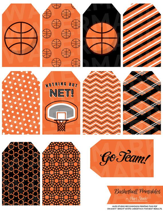 13 Orange Basketball Tag Printables By Hues By