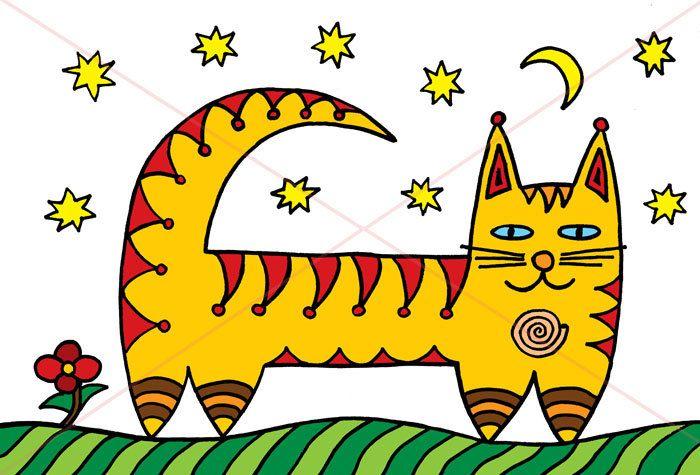 Мистический кот под звездами by ArtpictureUA on Etsy