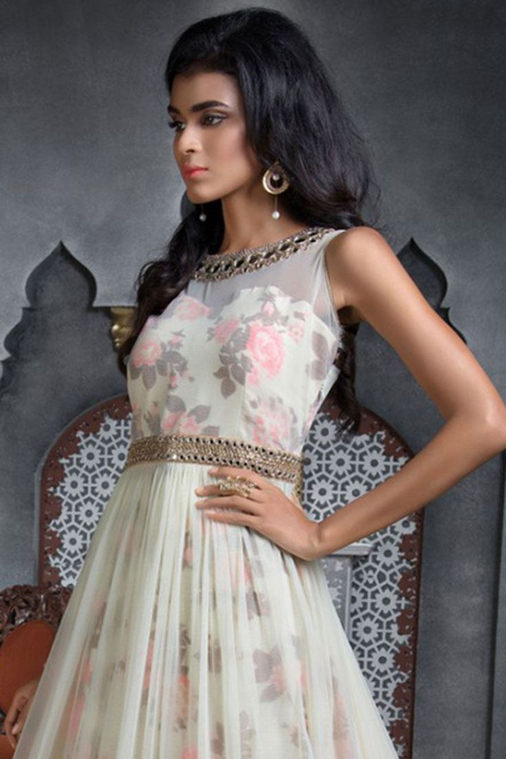 Picture of Floral print hued floor length anarkali