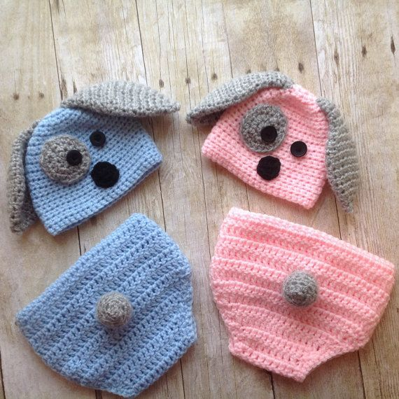 Twins newborn puppy hat and diaper covers, twin puppy hat, crochet puppy hat, photo prop, twin baby clothes, coming home outfit, newborn