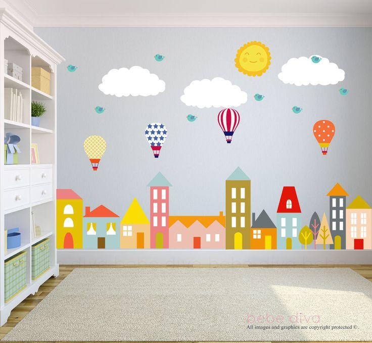 City Wall Decals, Wall Decals Nursery, Nursery Wall Decal, Kids Wall Decal, Wall Decal, Hot Air Balloon Wall Decal, Wall Decal Nursery by BebeDivaBoutique on Etsy https://www.etsy.com/nz/listing/259894446/city-wall-decals-wall-decals-nursery