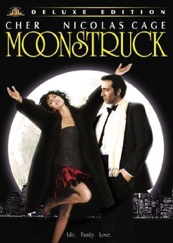 """Cher and Nicolas Cage in """"Moonstruck"""" and very entertaining movie!"""