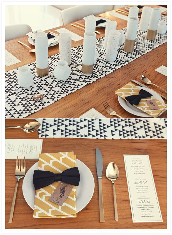 black, white and gold party decor: 30Th Birthday Parties, Napkins Rings, Spring 30Th, Party Decoration, Party Idea, Palms Spring, Tables Decoration, 30Th Birthday Party, Gold Party