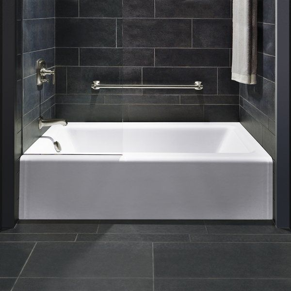 Kohler Bellwether 60 In X 30 In Ada Cast Iron Alcove Bathtub With Integral Farmhouse Apron And Right Hand Drain In White K 838 0 Tile Tub Surround Bathtub Tile Bathtub Tile Surround