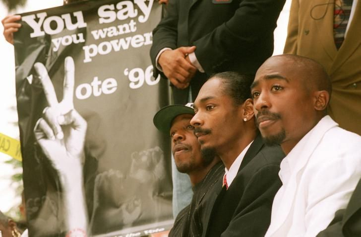 """Rappers Tupac Shakur, Snoop Doggy Dogg and Hammer, joined the black-activists group Brotherhood Crusade on Aug. 15, 1996, in Los Angeles to kick off a campaign against the """"three-strikes"""" law and to oppose the California Civil Rights Initiative, the anti-affirmative action measure."""