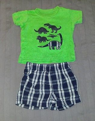 GUC Carters Baby Boy Clothes 3 Months Two Piece Dino Shirt Shorts Outfit Set