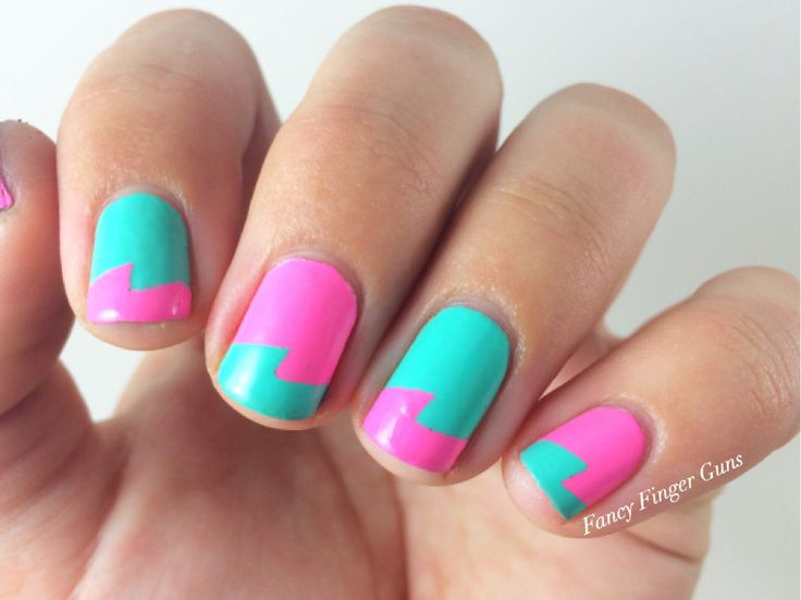 "Neon 90s nails! These are giving me major ""Clarissa Explains It All"" vibes. I used China Glaze's Too Yacht To Handle and Bottoms Up. Click over to the blog for complete details. #nails #90snails #nailpolish #nailart"