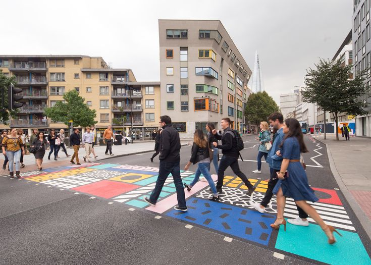 Artist Camille Walala has applied her signature graphic style to a pedestrian crossing in south London.
