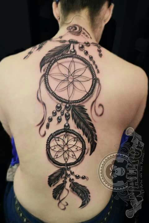 Dreamcatcher tattoo back Atrapa sueños espalda