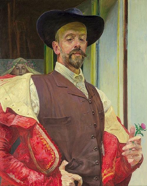monsieurlabette:  'Self portrait with thistle flower', 1911 - Jacek Malczewski