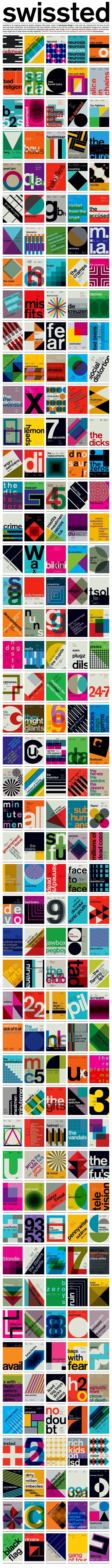 swissted is an ongoing project by graphic designer mike joyce. drawing from his love of punk rock and swiss modernism, two movements that have (almost) nothing to do with one another, mike has redesigned vintage punk, hardcore, new wave, and indie rock show flyers into international typographic style posters. each design is set in lowercase berthold akzidenz-grotesk medium (not helvetica).: