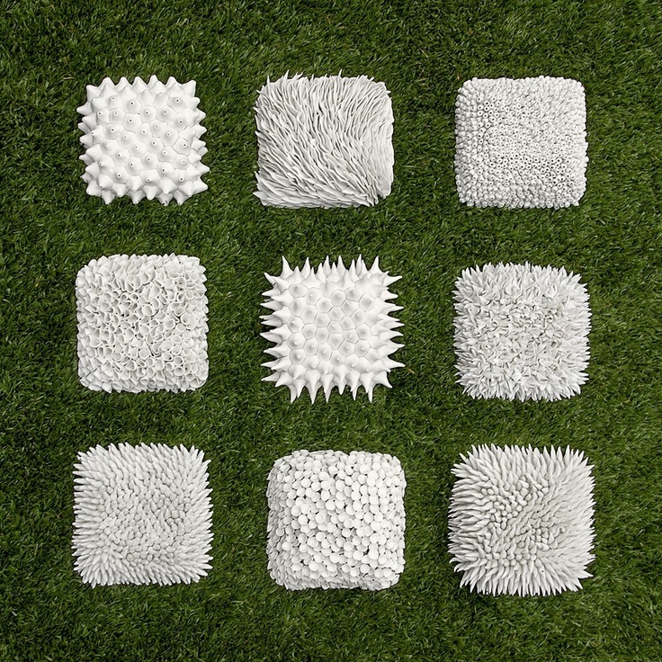 Wall Tile Collection - Set of 9 Textured Ceramic Tiles. $3,390.00, via Etsy.