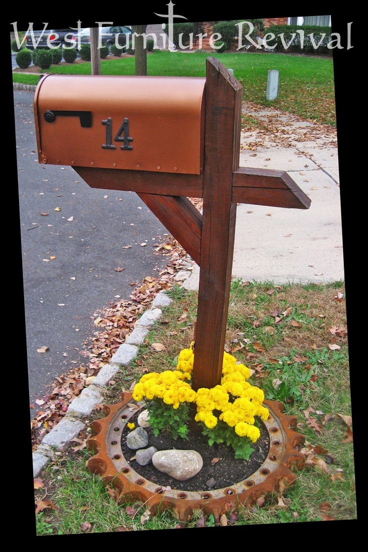 Unique lawn ornaments - West Furniture Revival Mailbox Update With Copper Paint And Old Bulldozer Gear