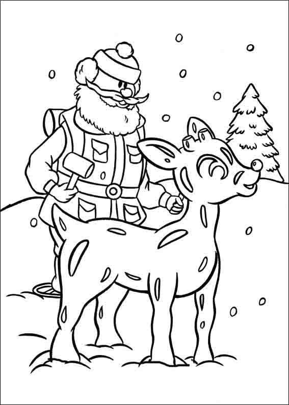 Dibujos para Colorear Rudolph el reno de la nariz roja 14