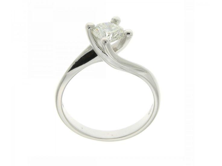 Anello solitario Valentino oro bianco 4 griffe diamante Carati 0,79 F-VVS2
