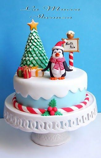 Penguin North Pole Christmas Cake