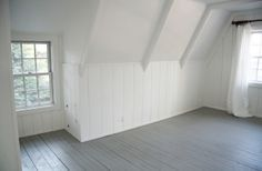 A Country Farmhouse: gray painted floors, white plank walls - Simply White, Platinum Gray (Benjamin Moore)