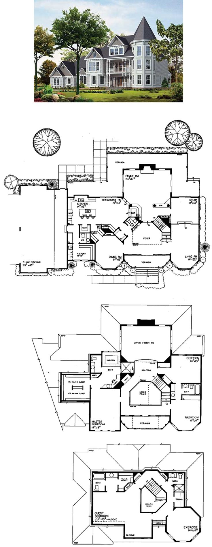Plan 81155W: Three-Story Beauty | Victorian house plans ...