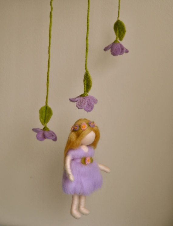 Waldorf inspired needle felted doll mobile: Violet spring fairy on Etsy, $65.00