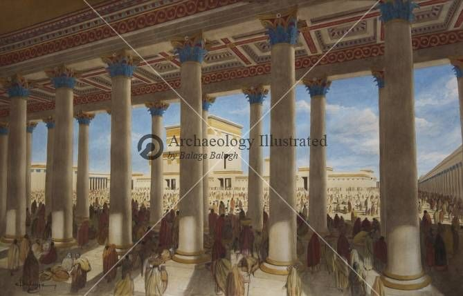 Temple Mount, Jerusalem, Herodian Basilica and the Second Temple, 1st century AD. Reconstruction by Balage Balogh/Archaeologyillustrated.com