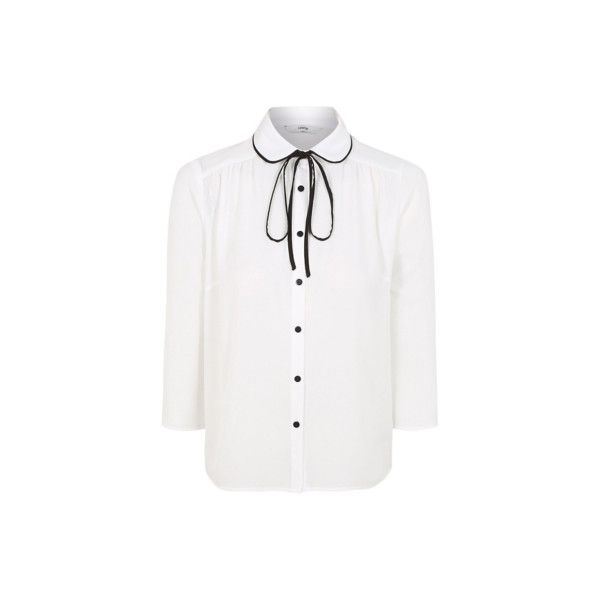 George Bow Neck Lightweight Shirt (£13) ❤ liked on Polyvore featuring tops, t-shirts, white, button up t shirts, t shirts, button down collar shirts, white button up shirt and white shirt