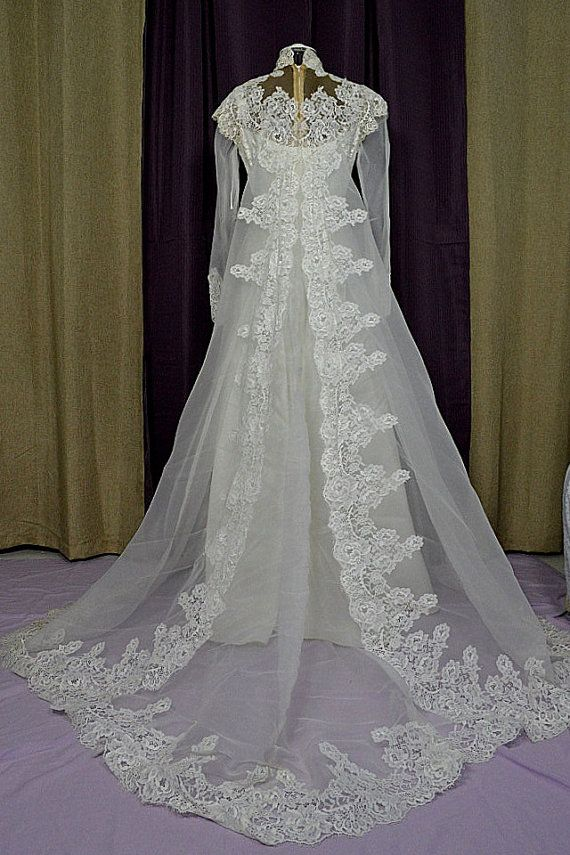 Vintage white 1980s empire style illusion neckline wedding for Empire lace wedding dress