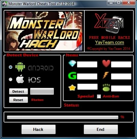 Monster Warlord Cheats Tool v7.12 2014 for Android/iOS. Working without problems. Download here! The Best Cheats only from YavTeam. http://www.yavteam.com/monster-warlord-cheats-tool-v7-12-2014/