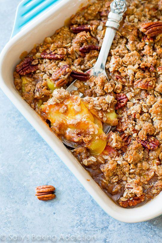 Sweet Peach Crisp with Toasted Pecans-- grab the recipe on sallysbakingaddiction.com