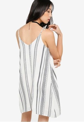 Printed Cami Dress from Something Borrowed in white_2