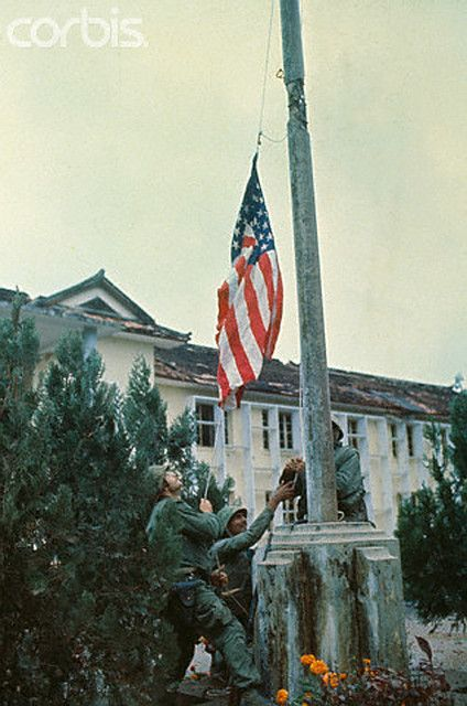https://flic.kr/p/6F2Hob | U1554319 | 06 Feb 1968, Hue, South Vietnam --- U.S Marines hoist the American flag at the Thua Thien Province headquarters February 6th after ripping down the Viet Cong flag. The Leathernecks recaptured the Communist stronghold after seven days of street fighting. --- Image by © Bettmann/CORBIS