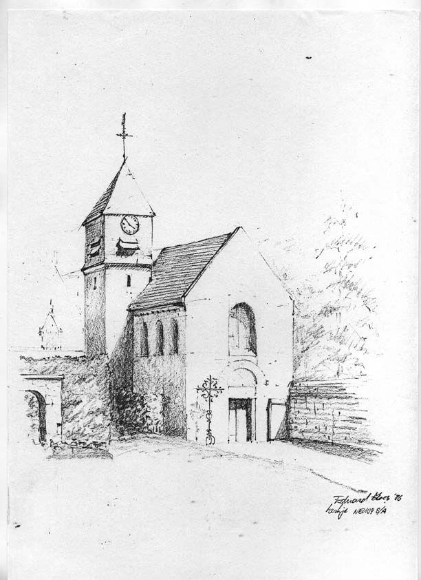 quick pencil sketch, church at Neuvy s/a France. artist Eduard Moes