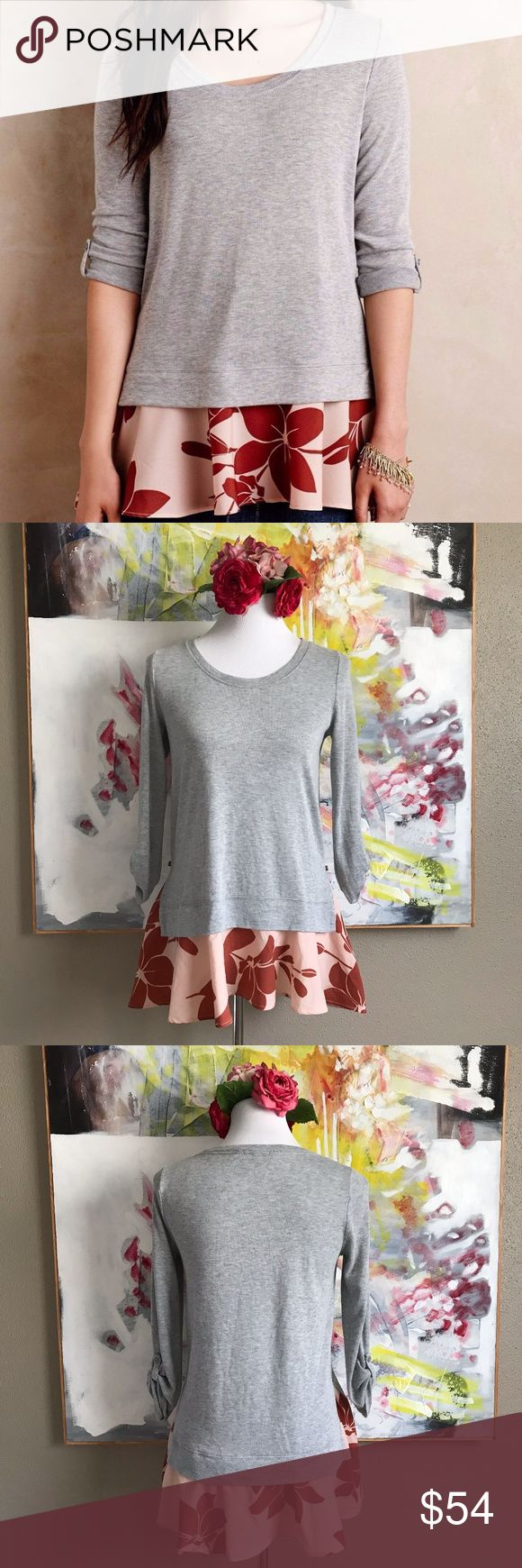 Anthropologie Little Yellow Button Layered Top, S 3/4 sleeve. Layered Swing Tee Sweater. Gray and peach. Size Small.  ▪️Pit to Pit: TBA ▪️Length: TBA ▪️Condition: Pre-Owned. Excellent condition. Anthropologie Tops Blouses