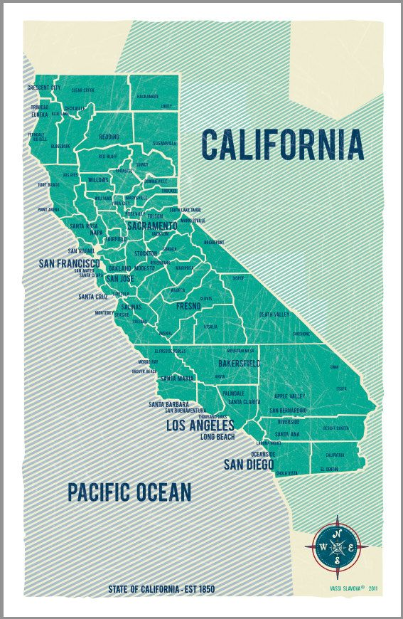 State of California Map Poster in Green- Vintage Style Poster 11x17
