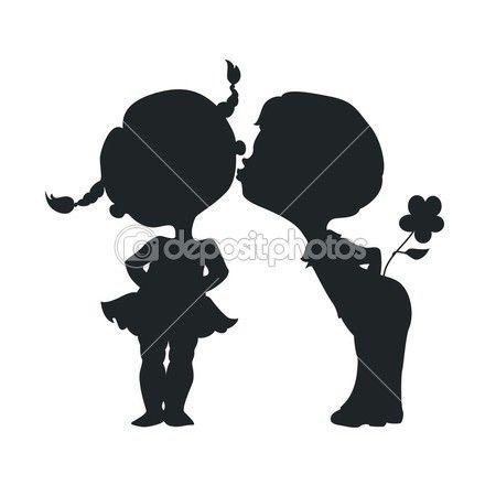 силуэты поцелуй, мальчик и девочка — Векторная картинка #42034759