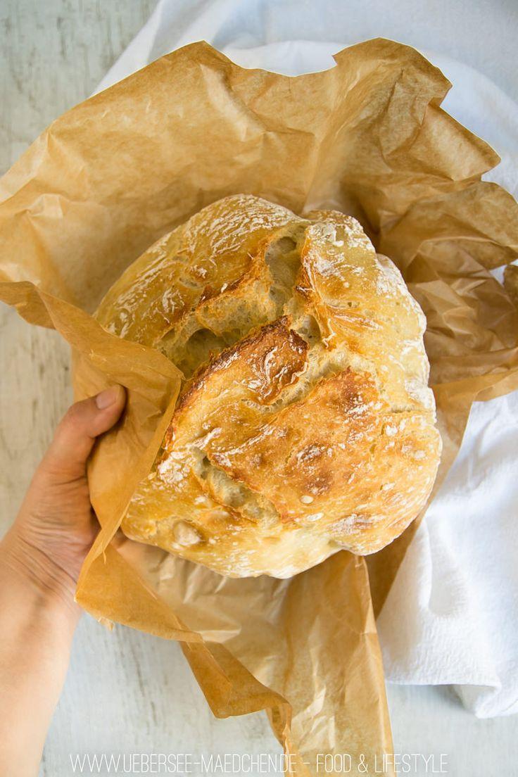 No-knead-bread, also Brot ohne Kneten, ist schnell gemacht und so lecker! Einfaches Rezept mit Gusstopf, abends angesetzt und morgens fertig.