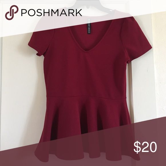 Red Peplum Top Red peplum top by Design Lab. Size L Design Lab Tops Tees - Short Sleeve
