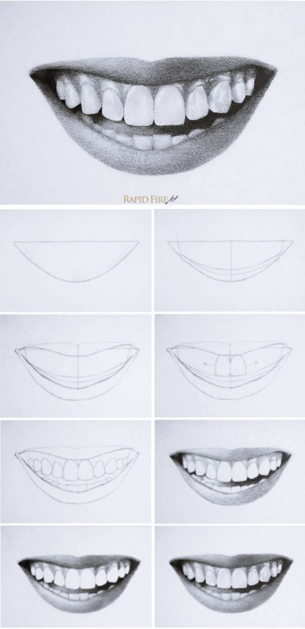 Drawing On Creativity - Drawing On Demand | Teeth Drawing, Lips Drawing, Smile  Drawing