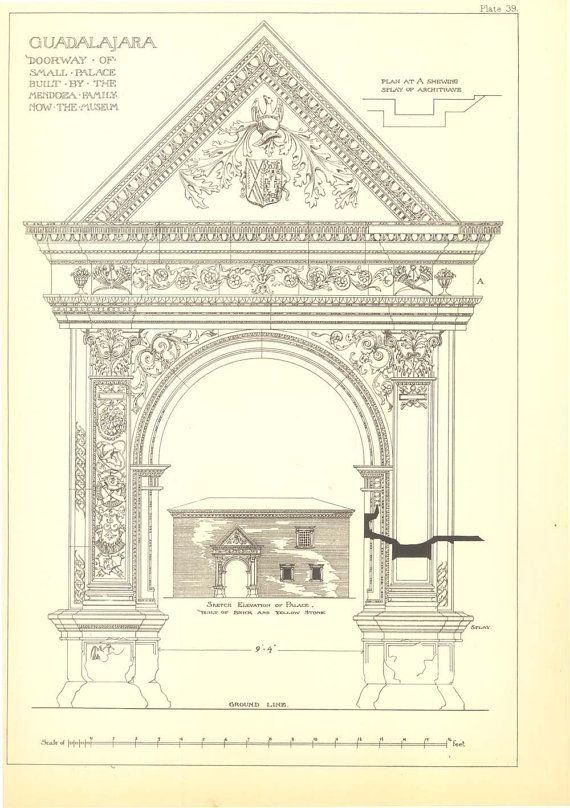 Architectural Print by Andrew N Prentice,  Spanish Renaissance Architecture, Sketch of a Doorway, Guadalajara