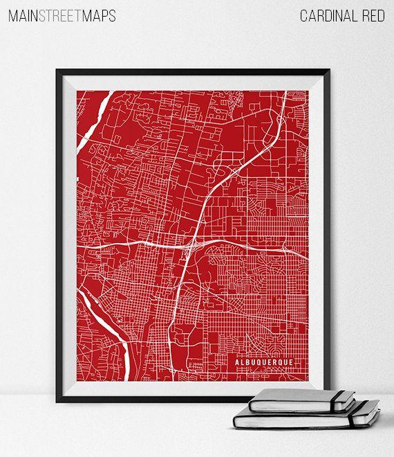 Albuquerque Map Print Albuquerque Poster of New by MainStreetMaps