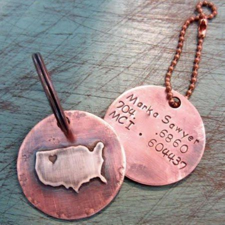 USA Silver & Copper Disc ID Luggage Tag - tap, personalize, buy right now!