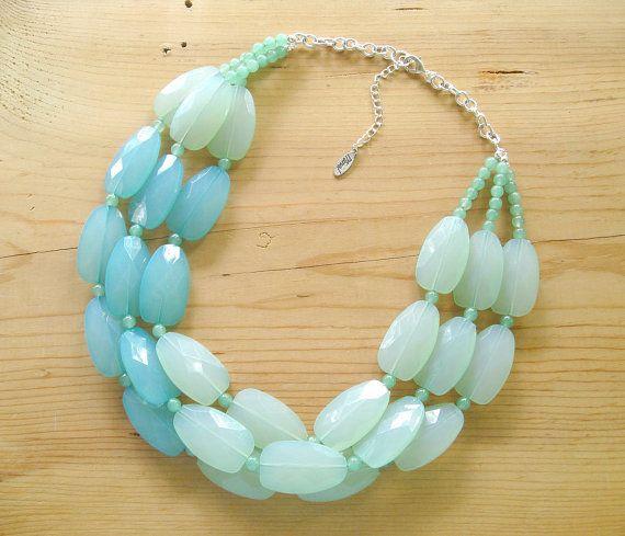 Ultimate Chunky Mint Necklace - Big Mint Statement Necklace - Muti strand Seafoam Mint necklace