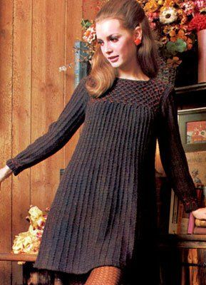 My favorite free dress knitting patterns are those with a fun vintage twist.  Not only does this Vintage Margarita Dress have an obvious retro touch, it actually is a real vintage pattern!  Transport yourself back to the 60s with this knit dress that features intriguing red detailing along the neck and sleeves.