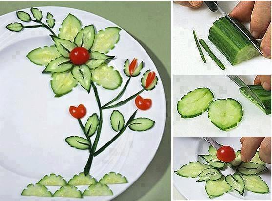 Salada de pepino e tomate com uma forma diferente de servir. Bonito e fácil de se fazer