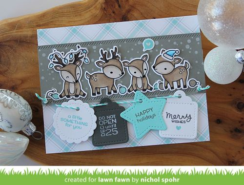 Lawn Fawn October Inspiration Week | Tiny Tags Sayings + Reindeers Holiday Card