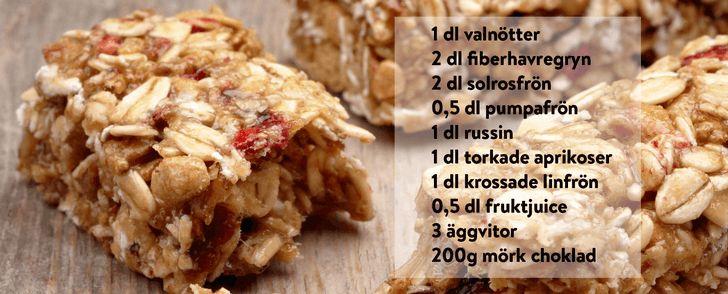 energibars bara 163 kalorier Hacka nötterna,vispa äggvitorna lätt, 125g 25min mitt i ugnen i brödformar. Låt svalna innan du skär, ev doppa i choklad