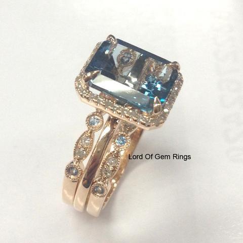 Emerald Cut London Blue Topaz Engagement Ring Trio Sets Pave Diamond Wedding 14K Rose Gold 8x10mm - Lord of Gem Rings - 3